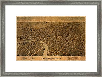 Map Of Columbus Ohio Vintage Street Schematic Birds Eye View On Worn Parchment Framed Print by Design Turnpike