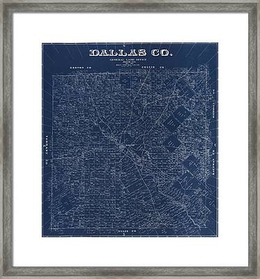 Map Of Dallas 1884 Framed Print by Andrew Fare