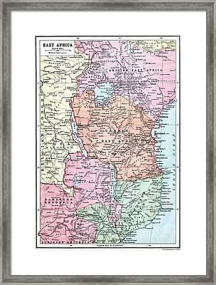 Map Of East Africa At Beginning Of Framed Print by Vintage Design Pics
