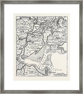 Map Of Eighteenth Century New York Framed Print by American School