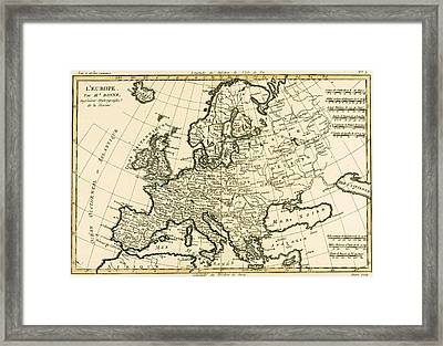 Map Of Europe Framed Print by Guillaume Raynal