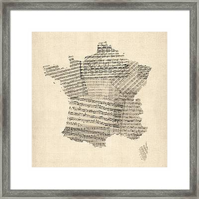 Map Of France Old Sheet Music Map Framed Print