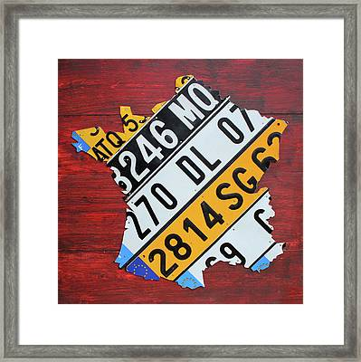 Map Of France Recycled License Plate Car Numberplate Art Framed Print by Design Turnpike