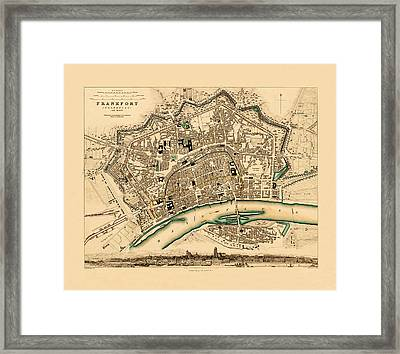 Map Of Frankfurt 1853 Framed Print by Andrew Fare