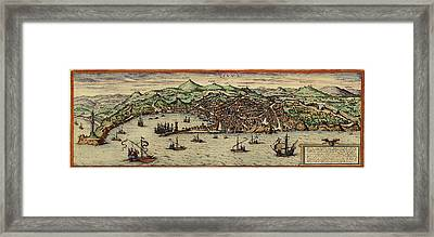 Map Of Genoa 1572 Framed Print by Andrew Fare