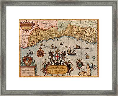 Map Of Genoa 1608 Framed Print by Andrew Fare