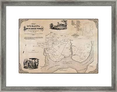 Map Of George Washingtons Mount Vernon - 1859 Framed Print