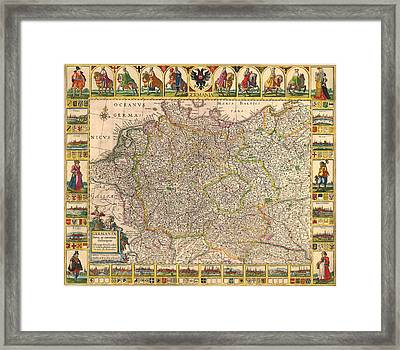 Map Of Germany 1630 Framed Print by Andrew Fare
