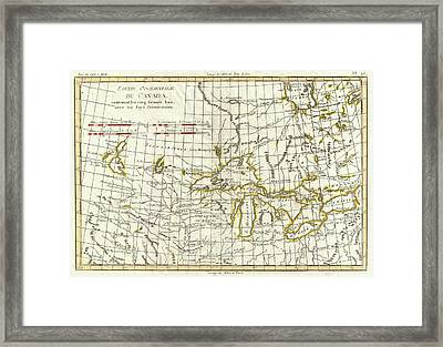 Map Of Great Lakes And Upper Mississippi Valley 1775  Framed Print