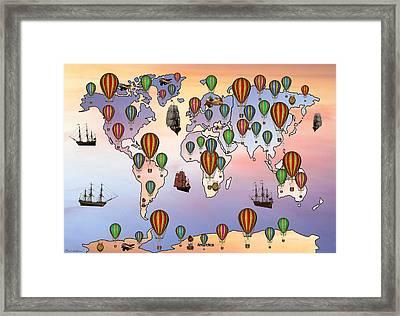 Map Of Hot Balloon Framed Print