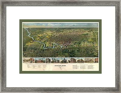Map Of Houston Texas With Buildings And Monuments Framed Print by Pd