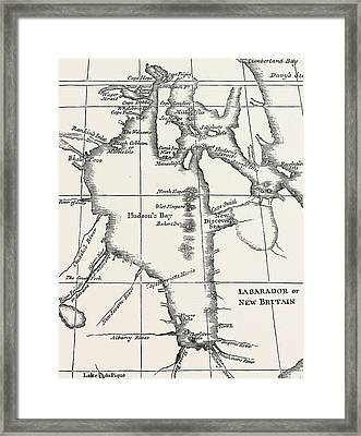 Map Of Hudson Bay Framed Print by Henry Ellis