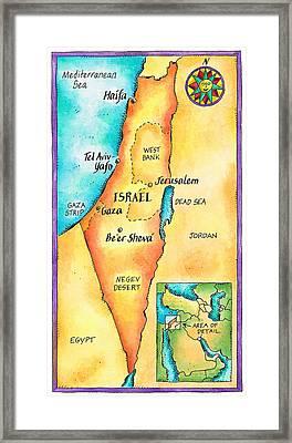 Map Of Israel Framed Print by Jennifer Thermes