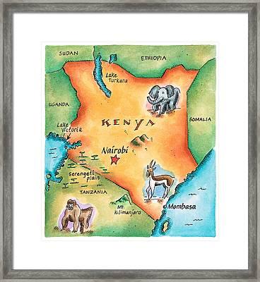 Map Of Kenya Framed Print by Jennifer Thermes