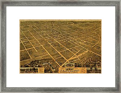 Map Of Lexington Kentucky Vintage Birds Eye View Aerial Schematic On Old Distressed Canvas Framed Print