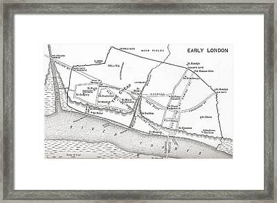 Map Of London In The 11th Century. From Framed Print