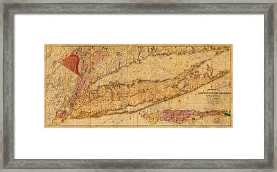 Map Of Long Island New York State In 1842 On Worn Distressed Canvas  Framed Print