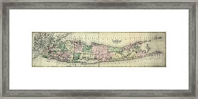 Map Of Longisland 1873 Framed Print by Jon Neidert