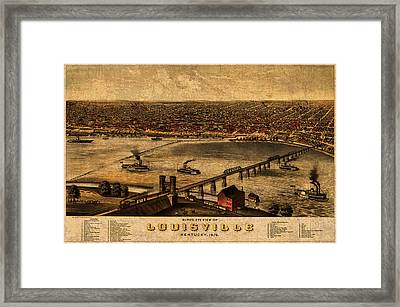Map Of Louisville Kentucky Vintage Birds Eye View Aerial Schematic On Old Distressed Canvas Framed Print