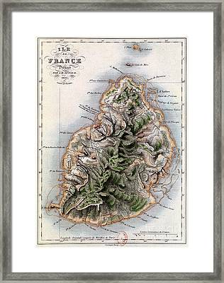 Map Of Mauritius Framed Print