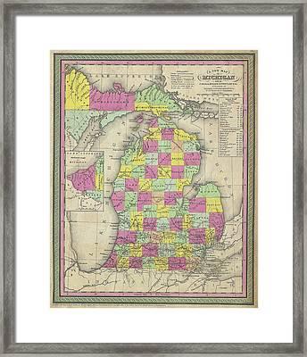 Map Of Michigan 1853 Framed Print
