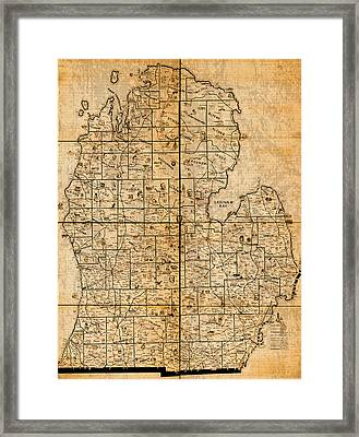 Map Of Michigan Vintage Railroad Train Routes Hand Drawn On Worn Distressed Old Canvas Framed Print by Design Turnpike