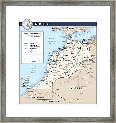 Map Of Morocco Framed Print
