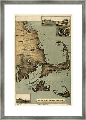 Map Of Nantucket Boston 1885 Framed Print by Andrew Fare