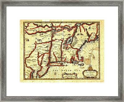 Map Of New England And New York 1676 Framed Print by Mark Rogan
