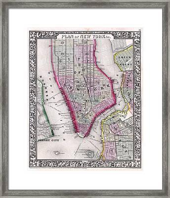 Map Of New York City 1864 Framed Print by Jon Neidert