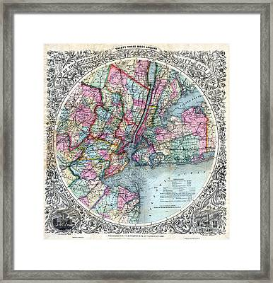 1879 New York City Map Framed Print by Jon Neidert