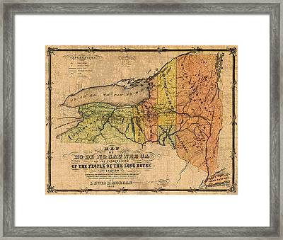 Map Of New York State Showing Original Indian Tribe Iroquois Landmarks And Territories Circa 1720 Framed Print by Design Turnpike