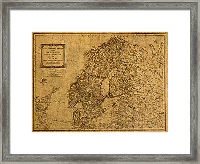 Map Of Norway Sweden Denmark And Scandinavia Circa 1794 On Worn Distressed Parchment Framed Print by Design Turnpike
