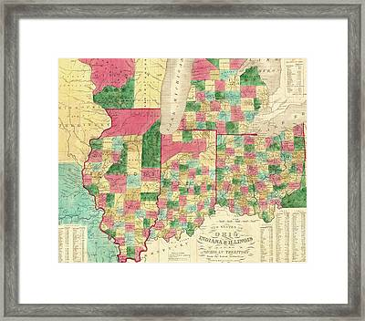 Map Of Ohio Indiana And Illinois Framed Print by Roy Pedersen