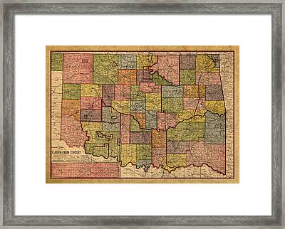 Map Of Oklahoma Vintage Antique Of Worn Canvas 1905 Framed Print