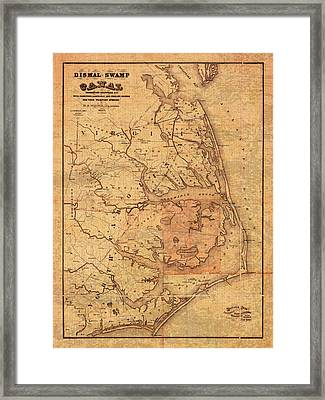 Map Of Outer Banks North Carolina Dismal Swamp Canal Currituck Albemarle Pamlico Sounds Circa 1867  Framed Print by Design Turnpike