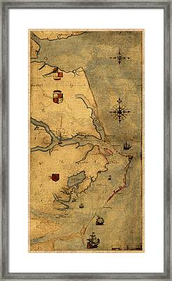 Map Of Outer Banks Vintage Coastal Handrawn Schematic On Parchment Circa 1585 Framed Print by Design Turnpike