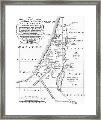 Map Of Palestine Framed Print by English School