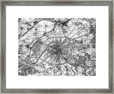 Map Of Paris And The Outskirts In 1840 Framed Print by French School