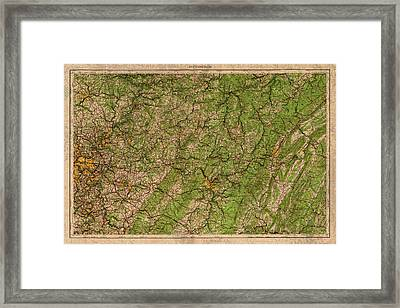 Map Of Pittsburgh Pennsylvania Vintage Topographical Schematic 1958 On Worn Distressed Canvas Framed Print by Design Turnpike