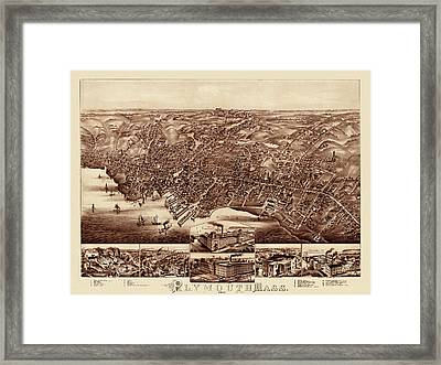 Map Of Plymouth 1882 Framed Print by Andrew Fare