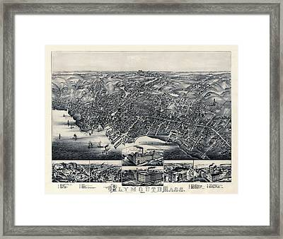 Map Of Plymouth 1882b Framed Print by Andrew Fare