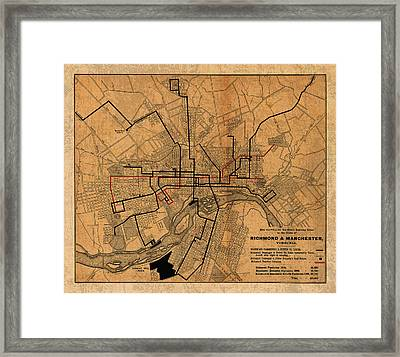 Map Of Richmond Virginia Vintage Street Car Railway Schematic From 1901 On Worn Distressed Canvas Framed Print by Design Turnpike