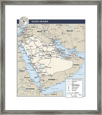 Map Of Saudi Arabia 2 Framed Print
