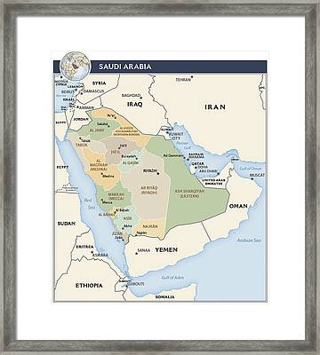Map Of Saudi Arabia Framed Print