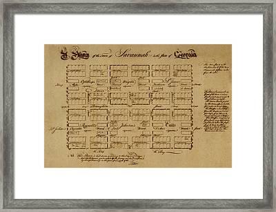 Map Of Savannah 1761 Framed Print