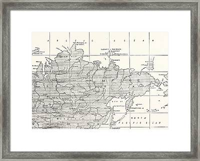 Map Of Siberia And Part Of China Framed Print by American School