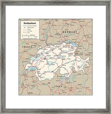 Map Of Switzerland Framed Print