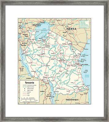 Map Of Tanzania Framed Print by Roy Pedersen