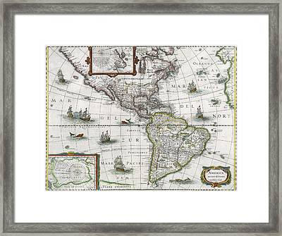 Map Of The Americas Framed Print by Henricus Hondius